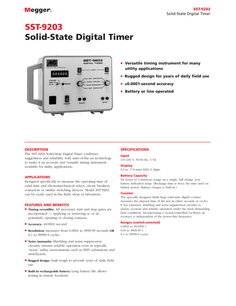 SST-9203 Solid-State Digital Timer