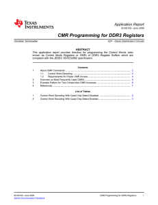 CMR Programming for DDR3 Registers