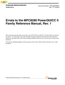 Errata to the MPC8280 PowerQUICC II Family Reference