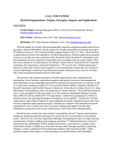 CALL FOR PAPERS Hybrid Organizations