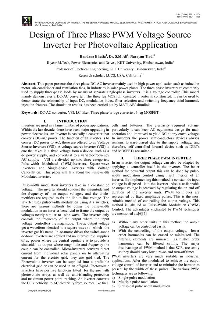 Design of Three Phase PWM Voltage Source Inverter