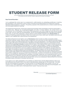 Student Release Form - National Board Certification