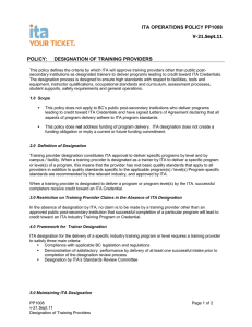 designation of training providers