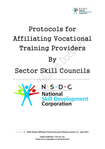 Protocols for Affiliating Vocational Training Providers By Sector Skill
