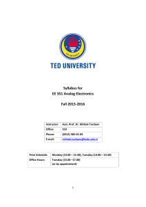 Syllabus for EE 351 Analog Electronics Fall 2015-2016