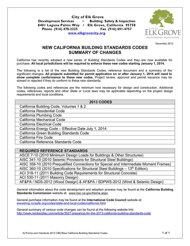 new california building standards codes summary
