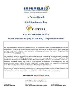 In Partnership with Distell Development Trust APPLICATION FORM