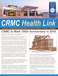 CRMC to Mark 100th Anniversary in 2016