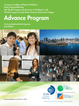 Advance Program - American College of Sports Medicine