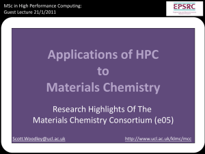 Applications of HPC to Materials Chemistry