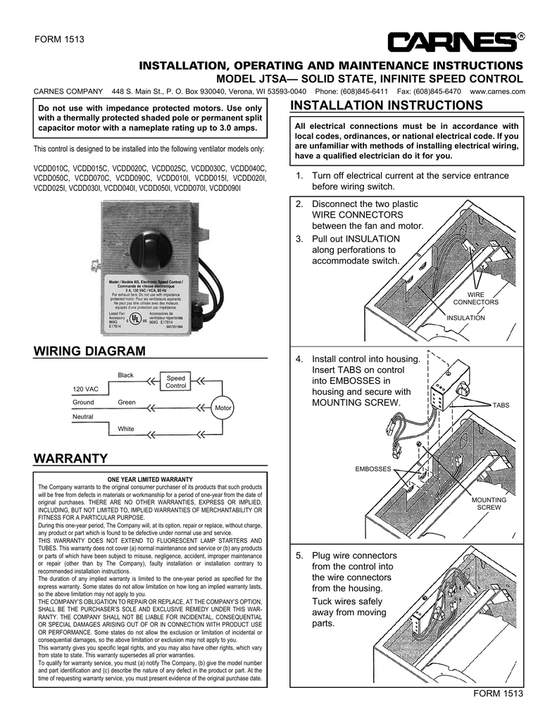 Warranty Wiring Diagram Installation Instructions 120vac Disconnect