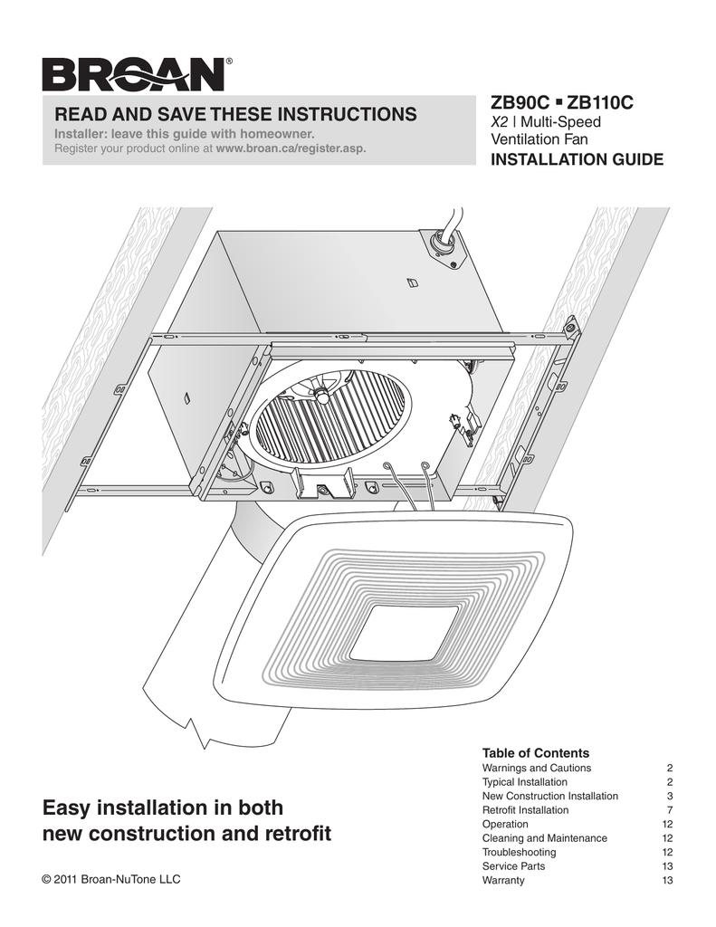 Broan Ceiling Fan Instructions