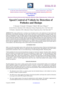 Speed Control of Vehicle by Detection of Potholes and