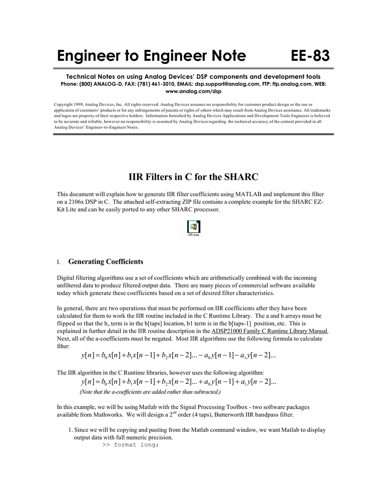 IIR Filters in C for the Sharc Application Note (EE-83)