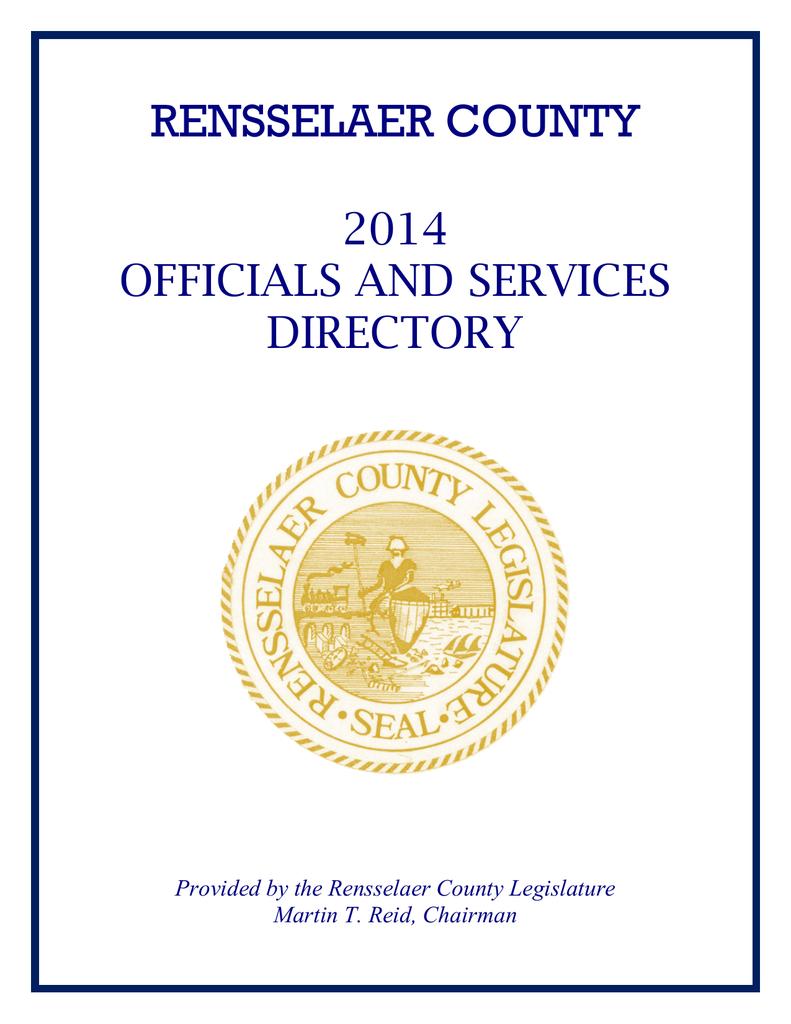 2014 Directory - Rensselaer County Legislature