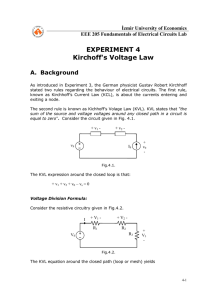 EXPERIMENT 4 Kirchoff`s Voltage Law