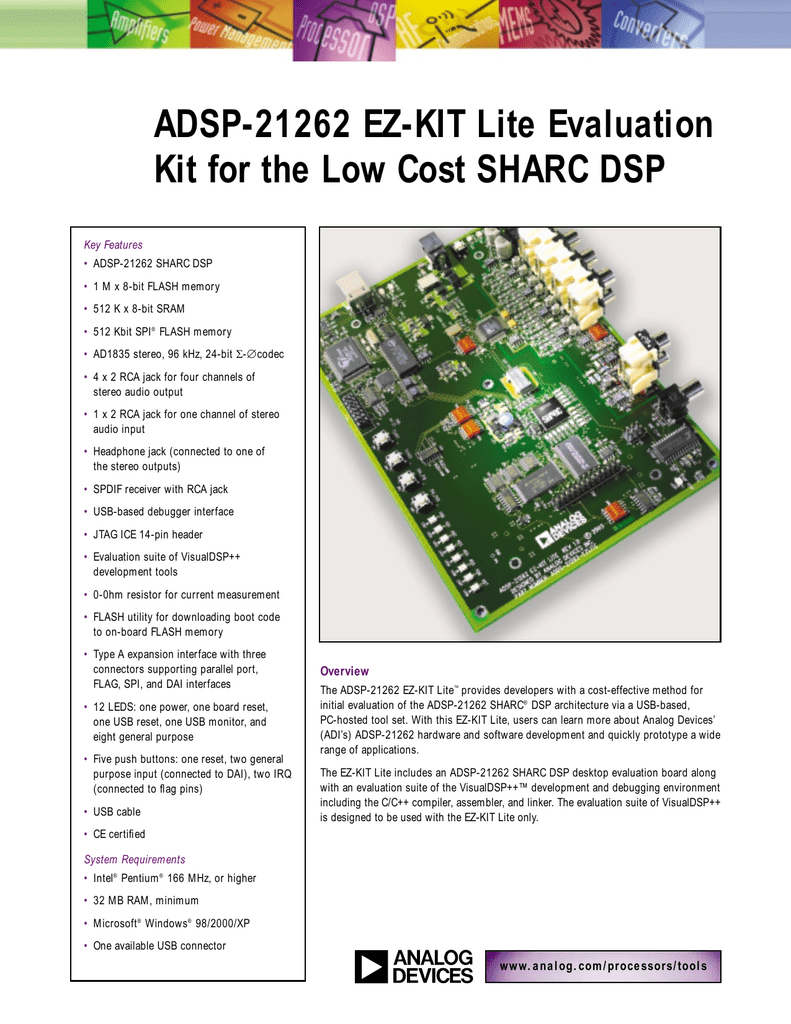 ADSP-21262 EZ-KIT Lite Evaluation Kit for SHARC