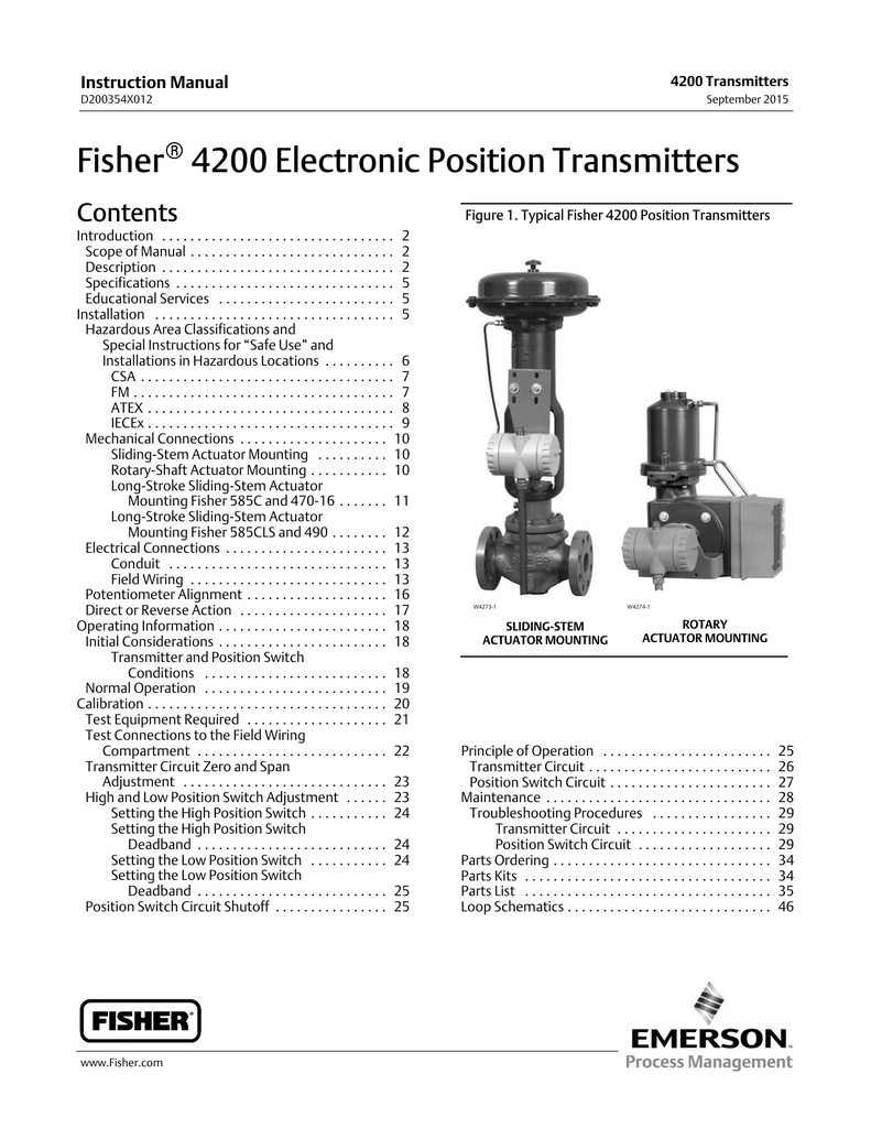Fisher 4200 Electronic Position Transmitters on