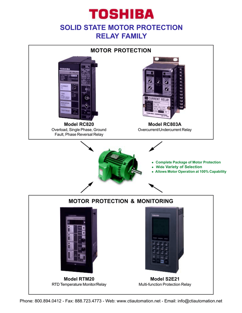Toshiba Solid State Motor Protection Relay Family