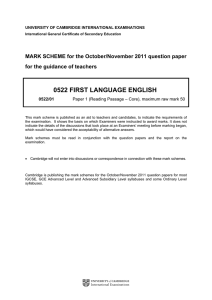 0522 FIRST LANGUAGE ENGLISH