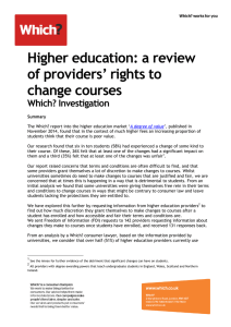 Higher education: a review of providers` rights to change courses