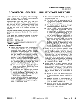 commercial general liability policy pdf