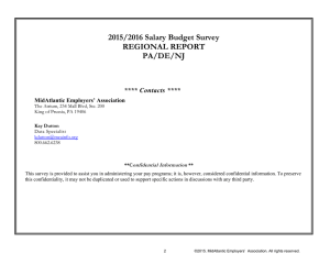 2015/2016 Salary Budget Survey REGIONAL REPORT PA/DE/NJ