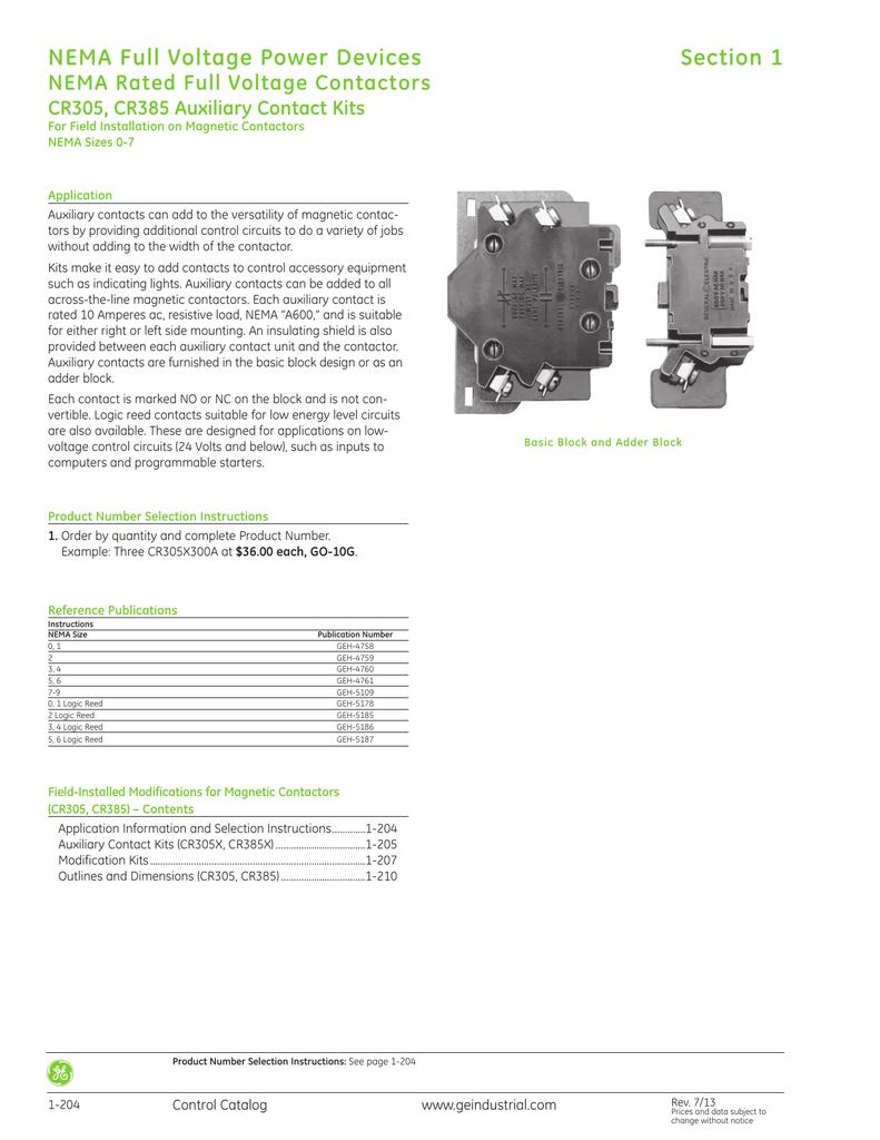 GE Control Catalog - Section 1: NEMA Full Voltage