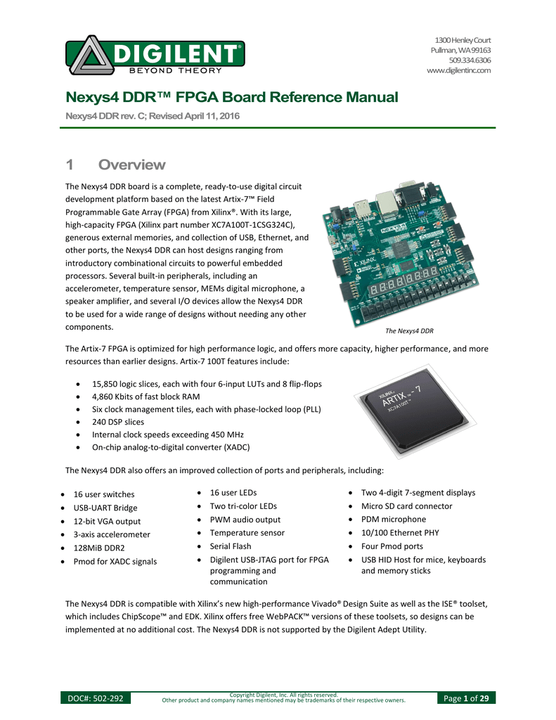 Nexys4 Ddr Fpga Board Reference Manual Digilent Jtag Cable Schematic Usb
