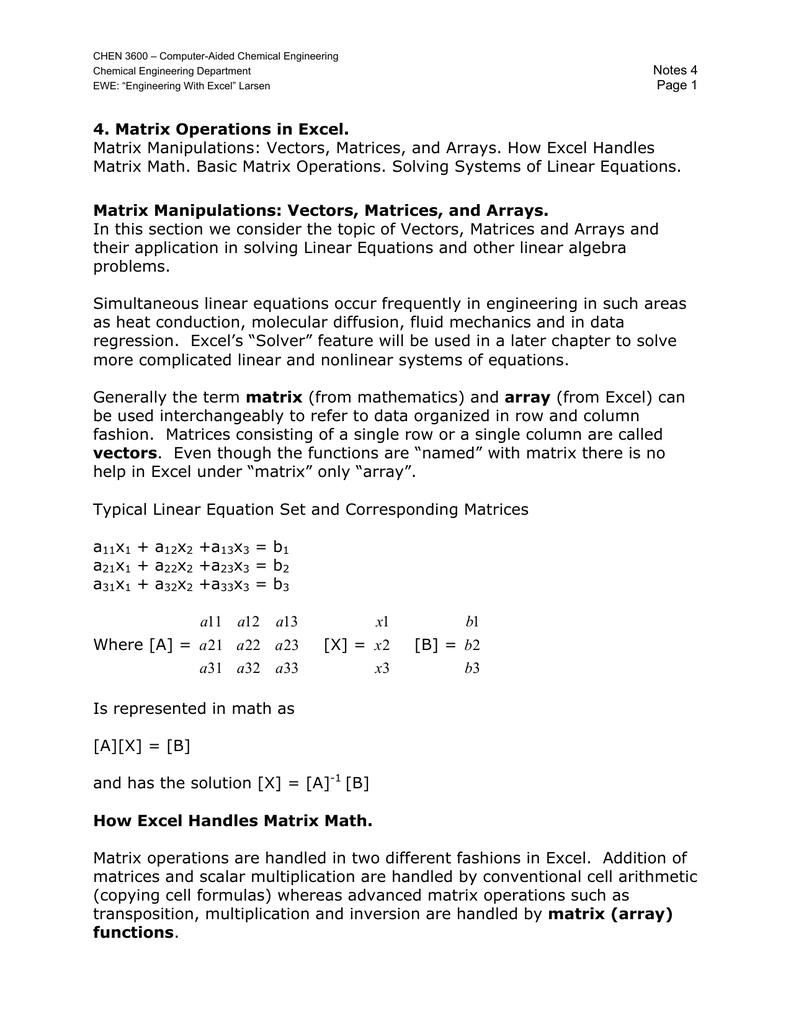 4  Matrix Operations in Excel  Matrix Manipulations: Vectors