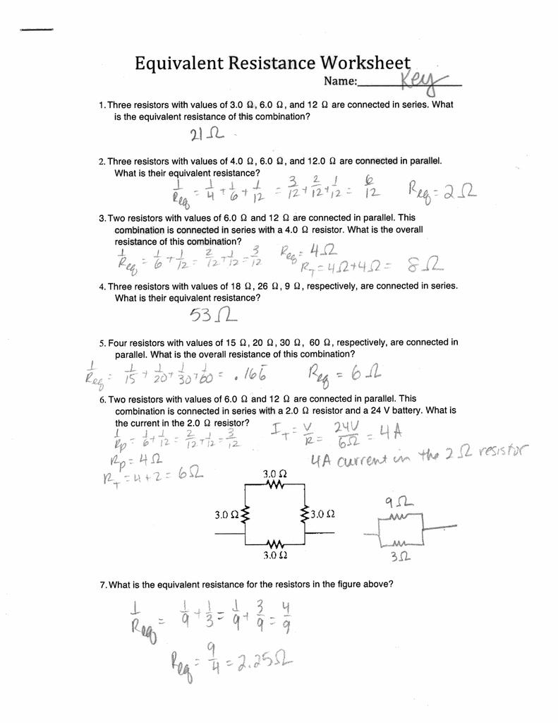 worksheet Equivalent Resistance Worksheet equivalent resistance worksheet 21 il