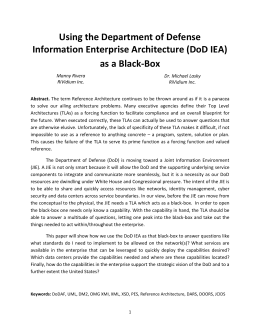 Using the Department of Defense Information Enterprise Architecture