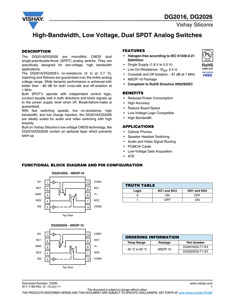 DG2016, DG2026 High-Bandwidth, Low Voltage, Dual SPDT