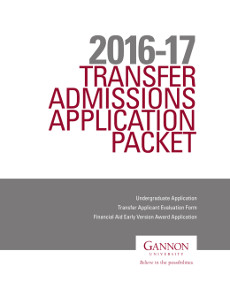Undergraduate Application Transfer Applicant Evaluation Form