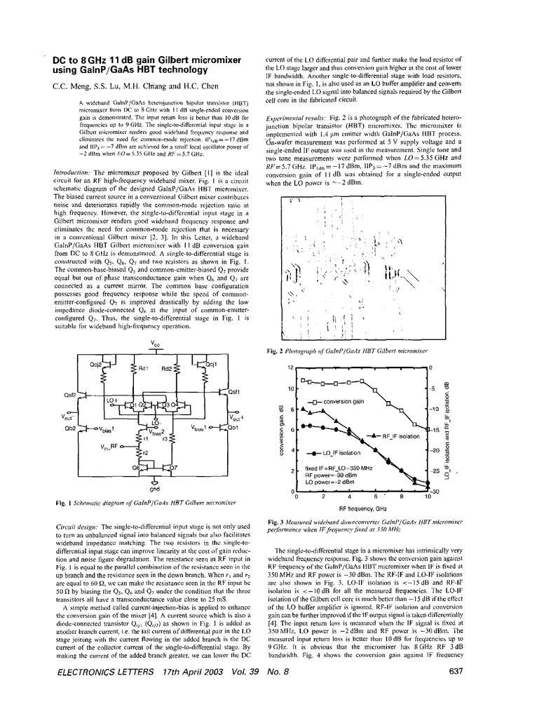 DC to 8 GHz 11 dB gain gilbert micromixer using GaInP/GaAs HBT
