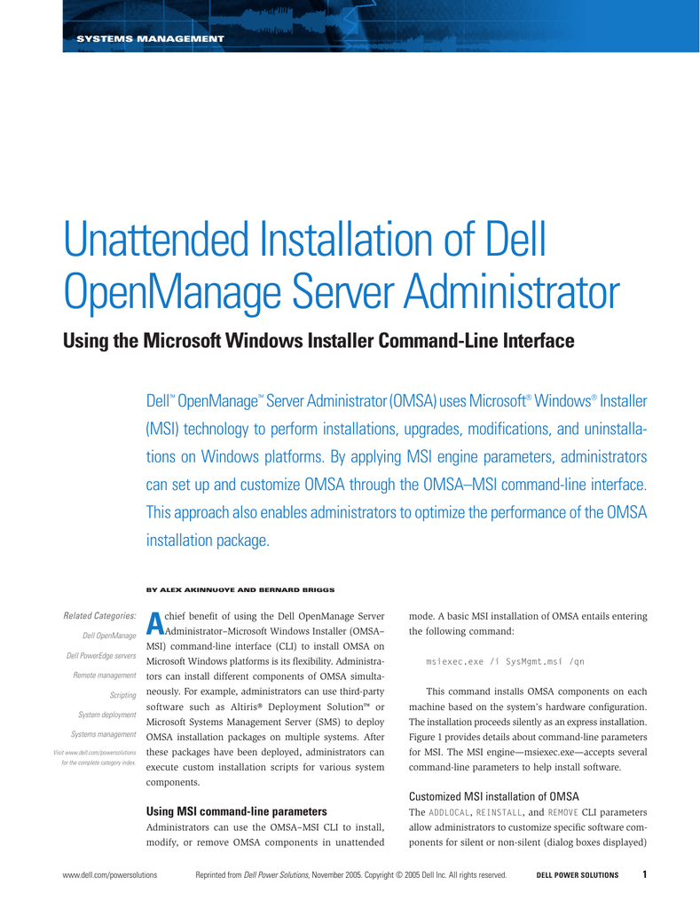 Unattended Installation of Dell OpenManage Server