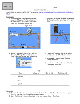 Light Bulb Ammeter Battery wire