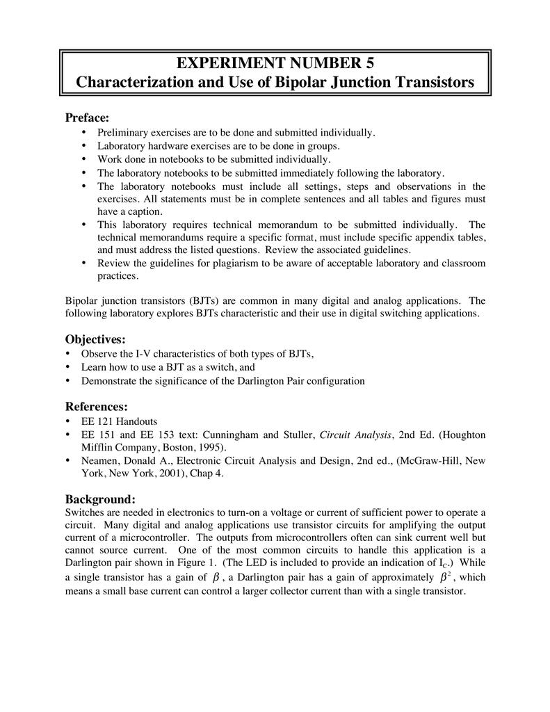 5 Experiment Characteristics Of Bipolar Junction Transistors Npn Transistor Darlington Configuration