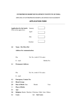 Application form - Entrepreneurship Development Institute of India