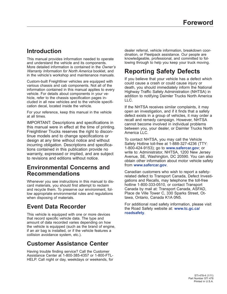 Freightliner Cascadia Operator`s Manual