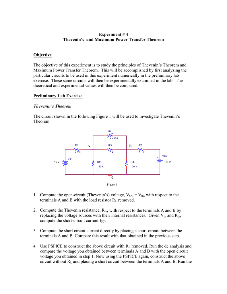 Experiment 4 Thevenins And Maximum Power Transfer Theorem Open Circuit Resistance