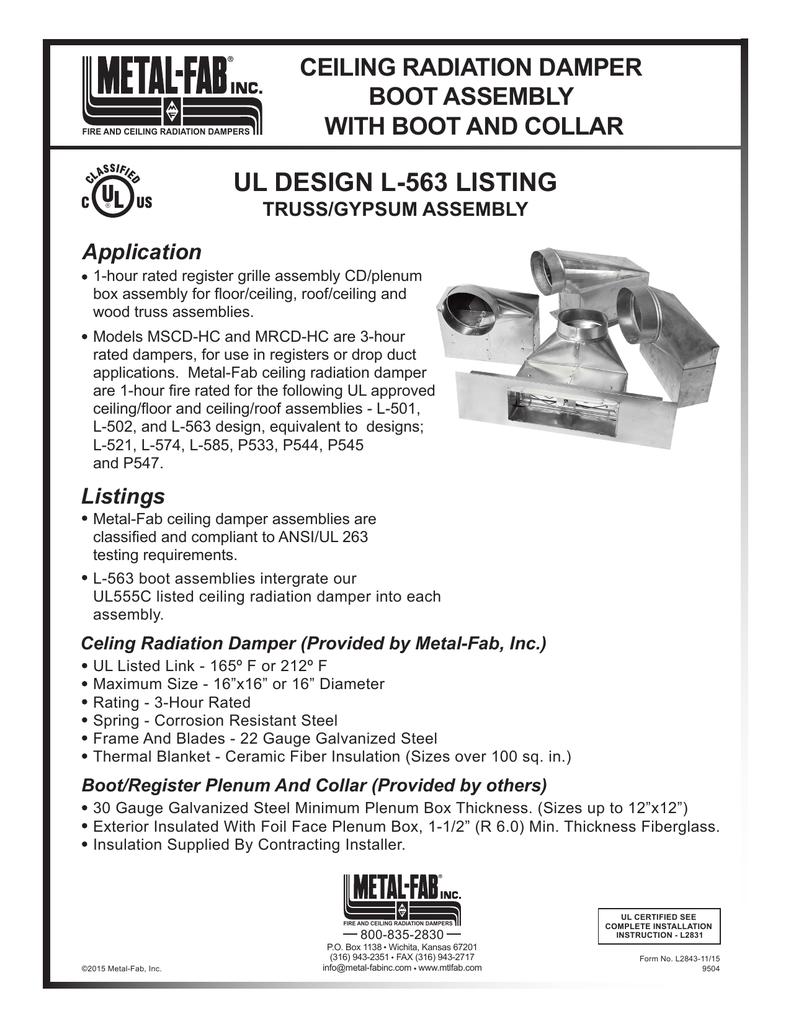 Ul Design L 563 Listing