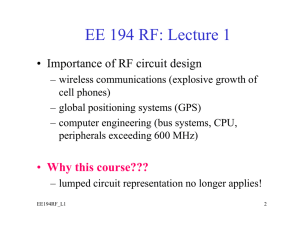 EE 194 RF: Lecture 1 - University of San Diego