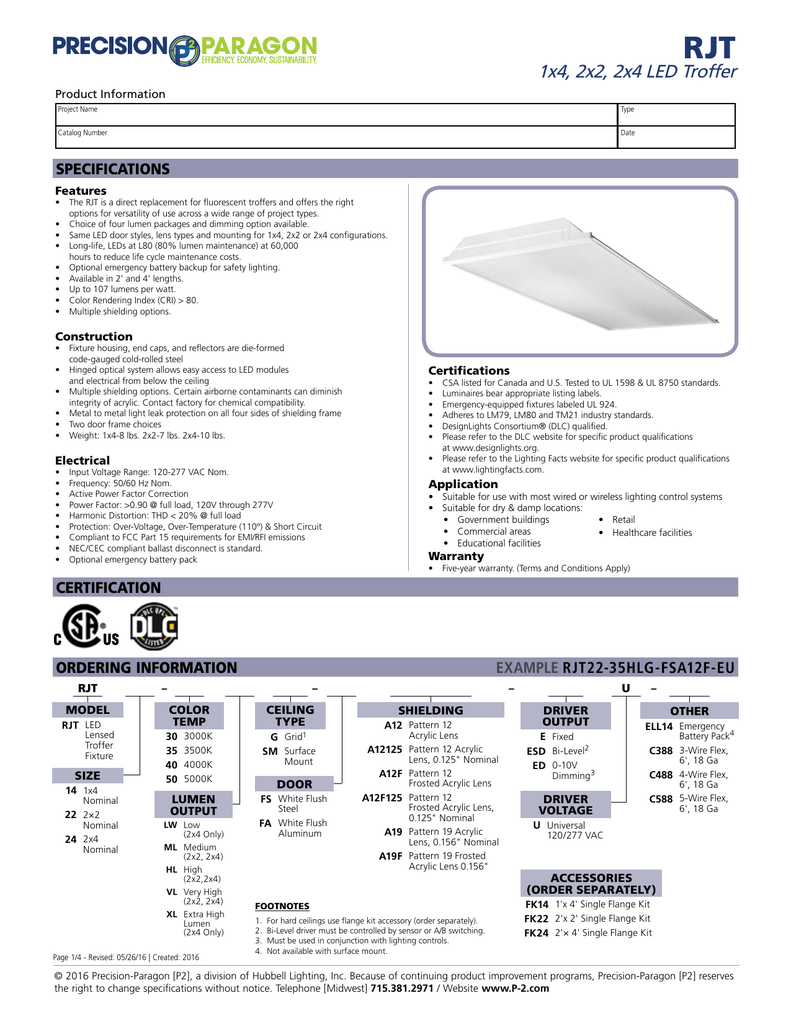 RJT Specification Sheet - Precision
