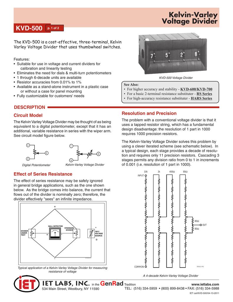 Kelvin Varley Voltage Divider Circuit Dividers