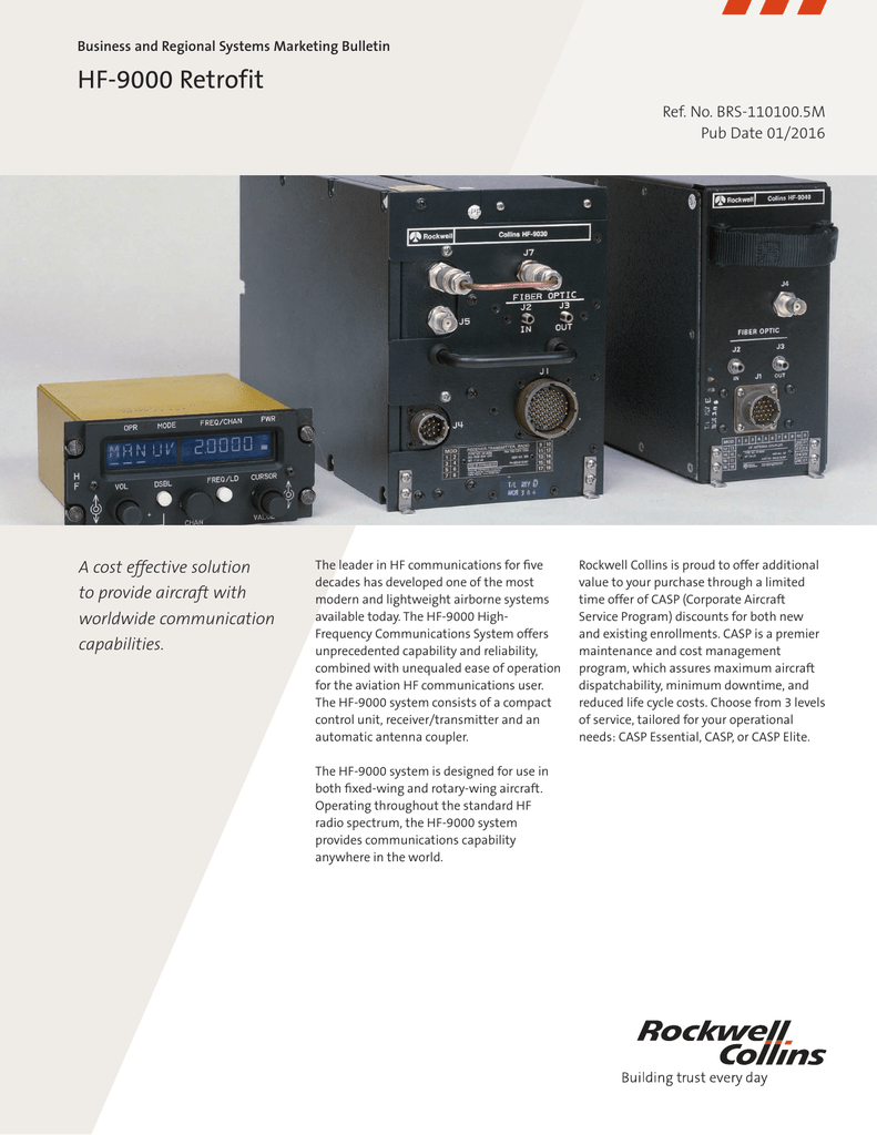 hf 9000 retrofit rockwell collins rh studylib net Fingerprint Scanner Rockwell Collins RC 9000
