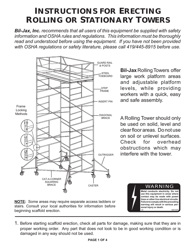instructions for erecting rolling or stationary towers - Bil-Jax