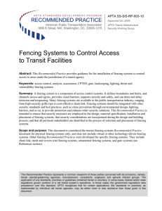 Fencing Systems to Control Access to Transit Facilities