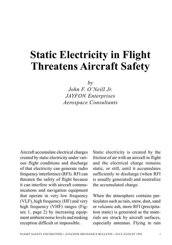Static Electricity in Flight Threatens Aircraft Safety