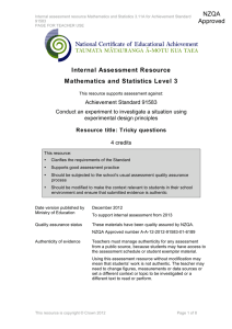 Internal Assessment Resource Mathematics and Statistics